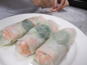 Vietnamese spring rolls with shrimp